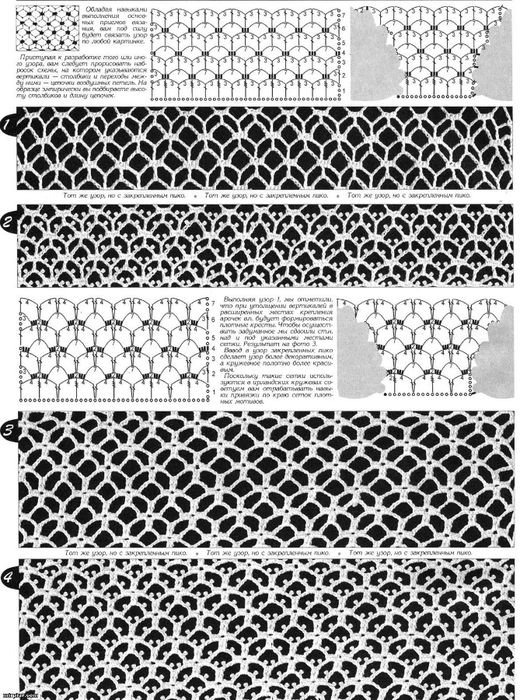 Lot of different net stitches free crochet graph patterns