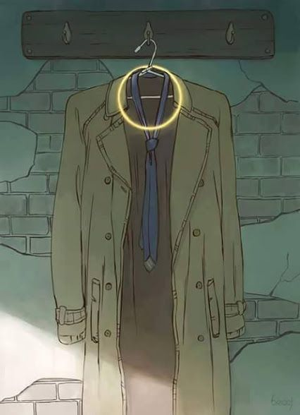 "It is truly heartbreaking once you think that castiel has died therefore his halo and trench coat is ""retired"""