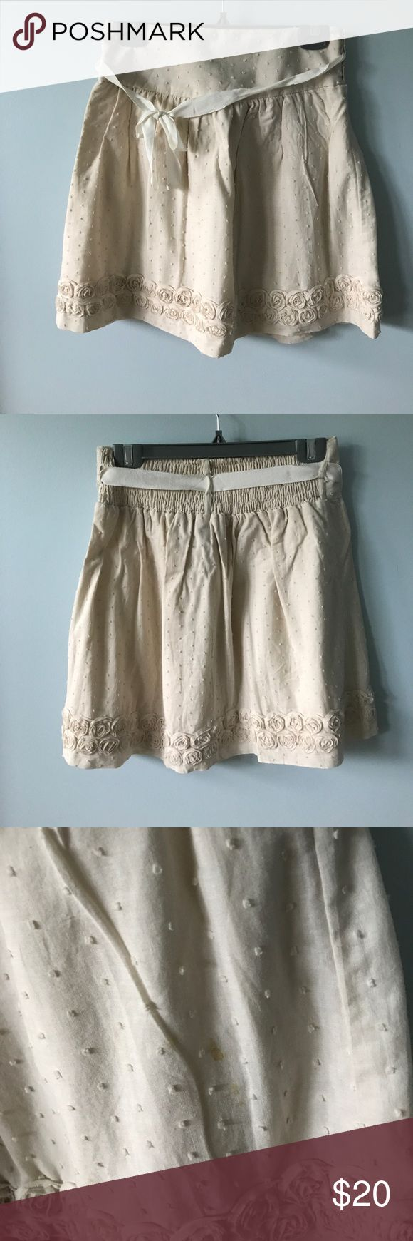 Floral Skirt Small coffee stain as pictured. Cream colored with a ribbon and rosette trim. {ask questions & make offers} Skirts Mini
