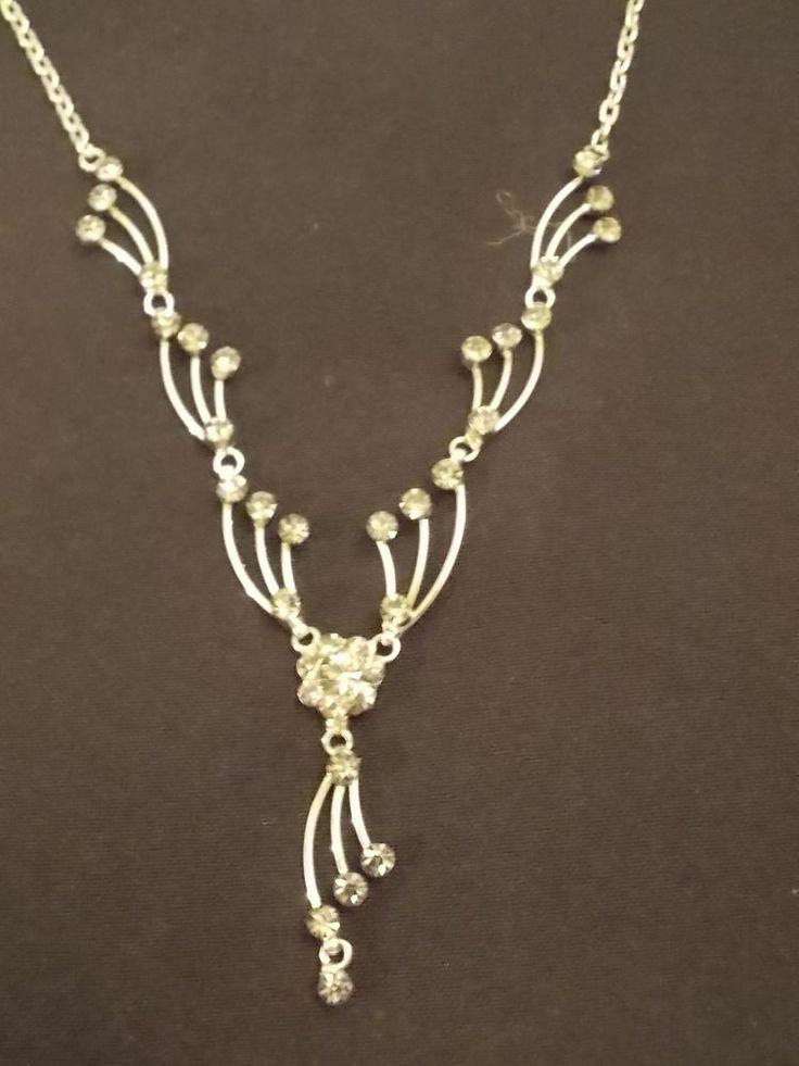 REDUCED PRICE...Smokey Grey Crystal Set Necklace