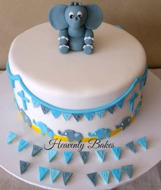 Elephant themed Baby Dedication Cake  heavenlybakesaltona@gmail.com
