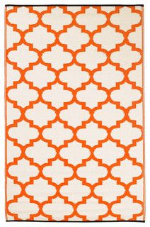 Indoor-Outdoor Tangier Rug, Carrot and White - contemporary - outdoor rugs - by Fab Habitat