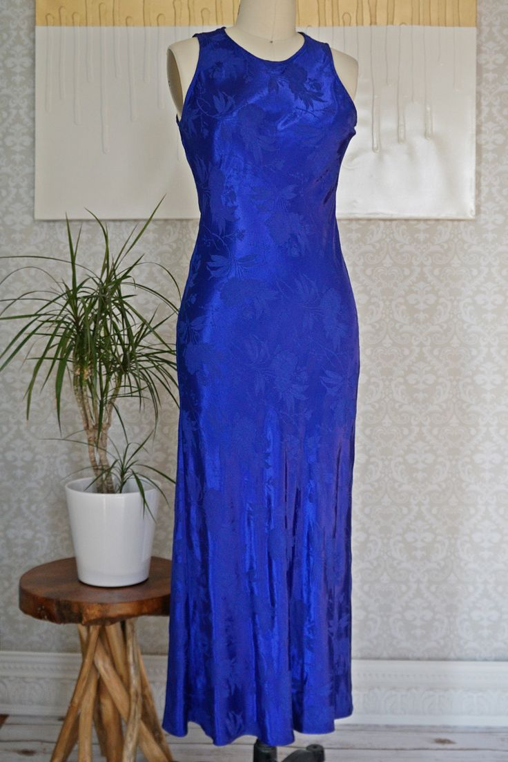 Vintage 1980s Sultry + Electric Blue Dress