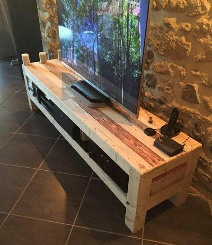 Lits En Palette Fabriquer Un Meuble Tv Instructions Et Modeles Diy Fabriquer Meuble Tv Fabrication Meuble Meuble