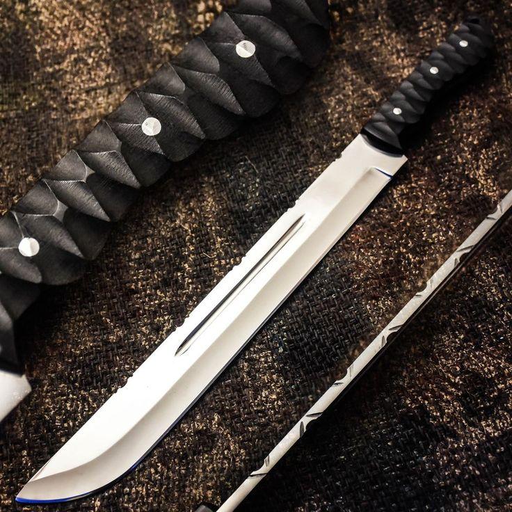 ALONZO KNIVES USA CUSTOM HANDMADE TACTICAL MACHETE 01 TOOL STEEL KNIFE MICARTA20 #AlonzoKnives