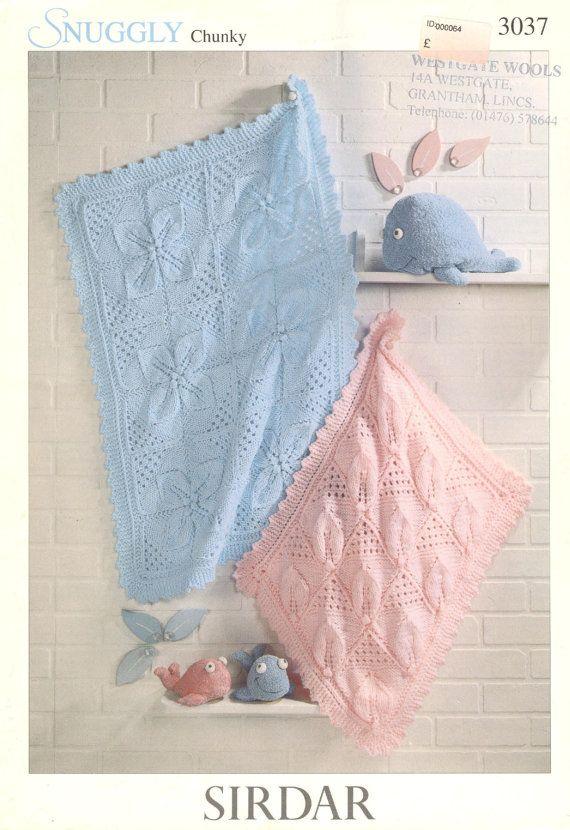 Sirdar 3037 baby cot and pram blanket vintage by Ellisadine, £1.00