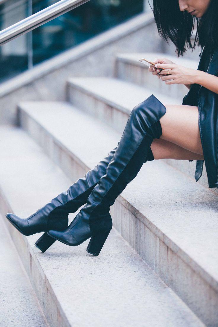 Miti Shoes INVERNO 16. Bota over the knee preta em couro. {Overtheknee, black leather boots} #mitishoes #amsterdamstyle