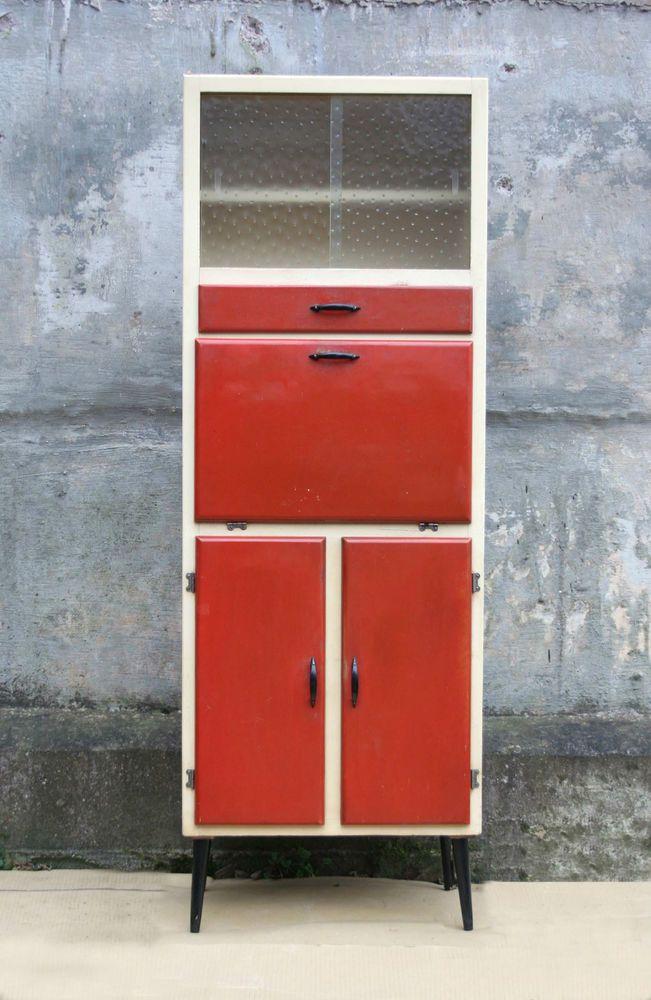 Retro vintage red kitchen larder unit cabinet cupboard for Antique red kitchen cabinets