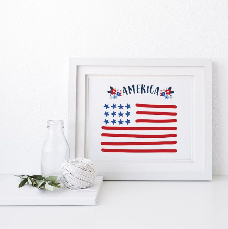 """SALE """"America"""" Wall Art Quote Print Independence Day Downloadable Printable 4th of July Decor American Flag Home of the Brave by JACxBO on Etsy"""