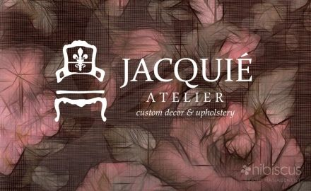 Jacquie Atelier, Atelier is french for workroom. With such a unique name we wanted to be sure the icon would deliver the message. Jacquie also does custom furniture and re upholstery of old sofas and chairs. INTERIOR DESIGNER LOGO- FURNITURE MAKER LOGO - 3 custom concepts created. www.hibiscusclt.com