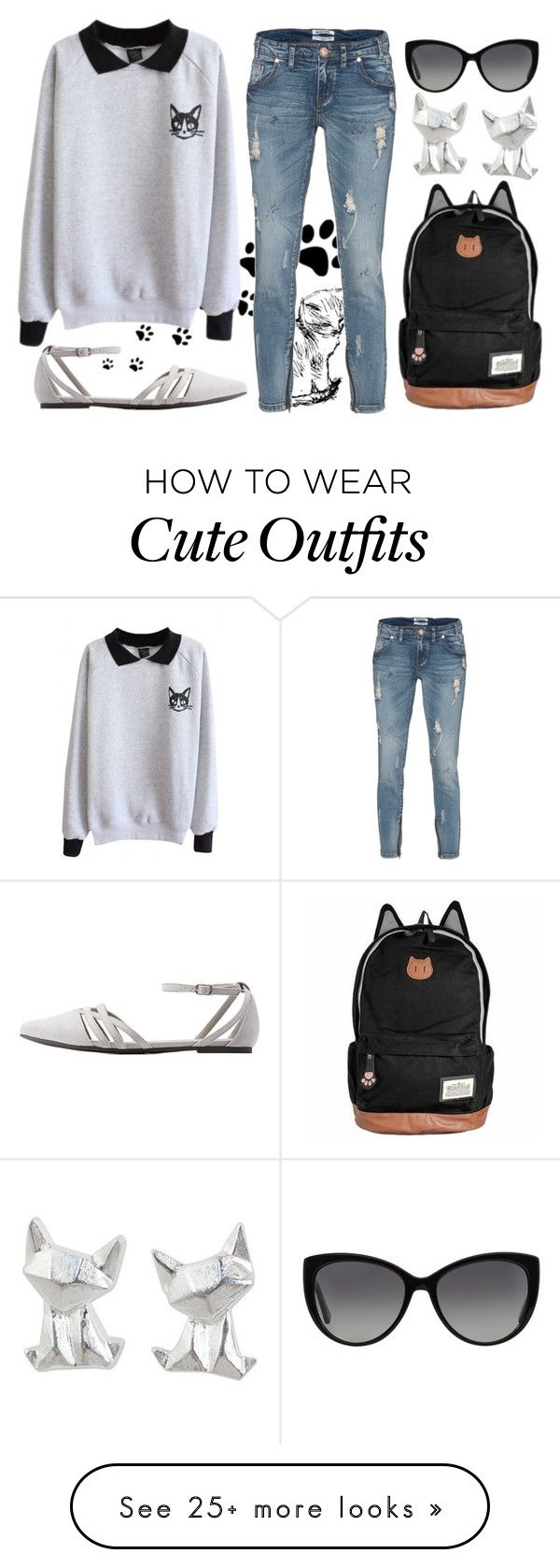 """Chic Cats Outfit"" by joslynaurora on Polyvore featuring One Teaspoon, Michael Kors, Charlotte Russe and NOVICA"