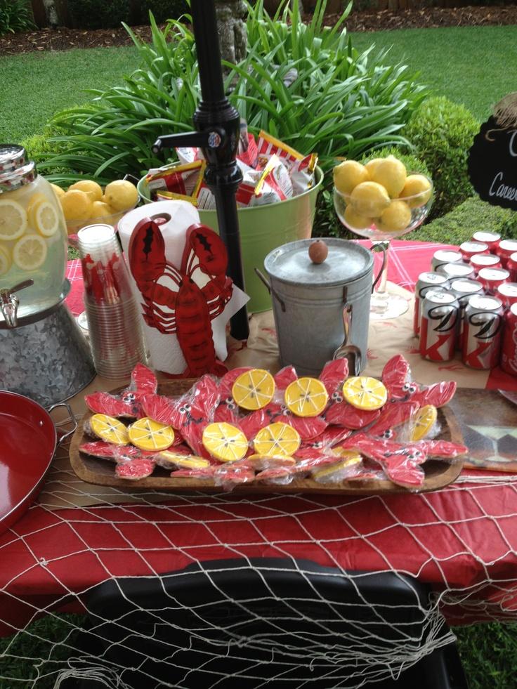 Crawfish Boil Table (look At The Cute Cookies!