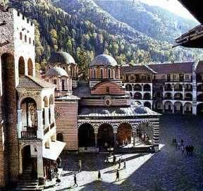 Rila Monastery, Bulgaria - We stayed over-night at the monastery it's so serene and we were greeted by the most beautiful sunset over the mountains and the haunting chanting of the monks.