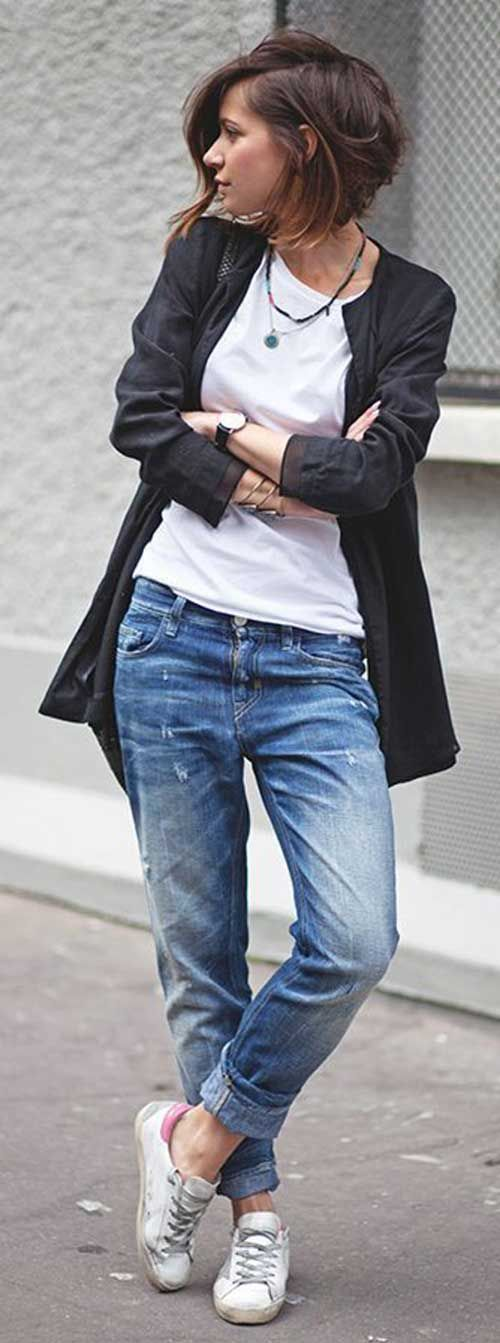 Blazer preto e jeans                                                                                                                                                                                 Mais