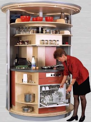 This rotating kitchen has a sink, stove, microwave, refridgerator/freezer, dishwasher, storage space and trash can...all in less than 6 square feet.  Amazing.