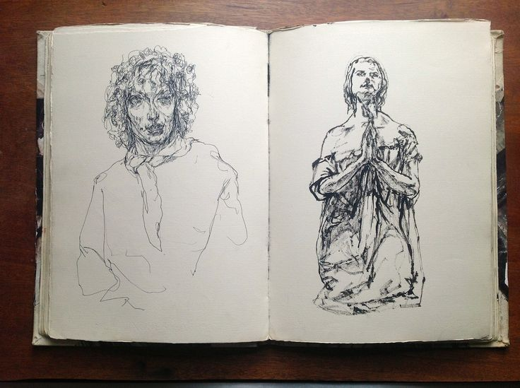 Italian sketchbook: Paola in Bar Paradiso Perduto and a marble statue in Venice. pen and bamboo and ink byGregory Muenzen