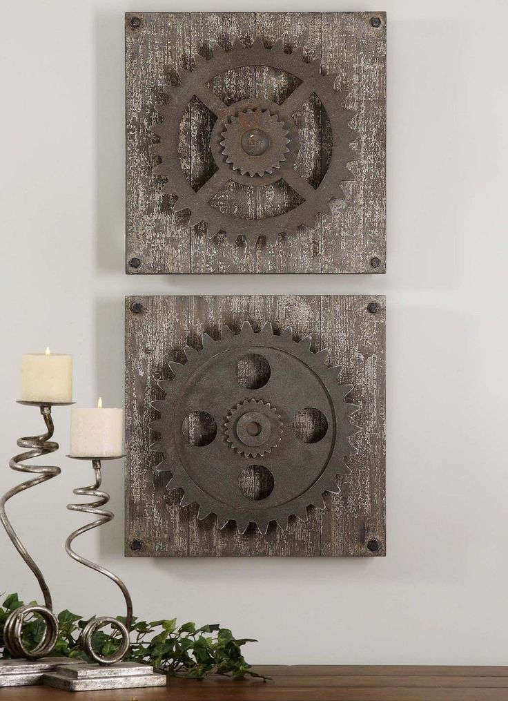 Urban Industrial Loft Steampunk Decor Rusty Gears Cogs 3D Wall Art Sculpture | eBay