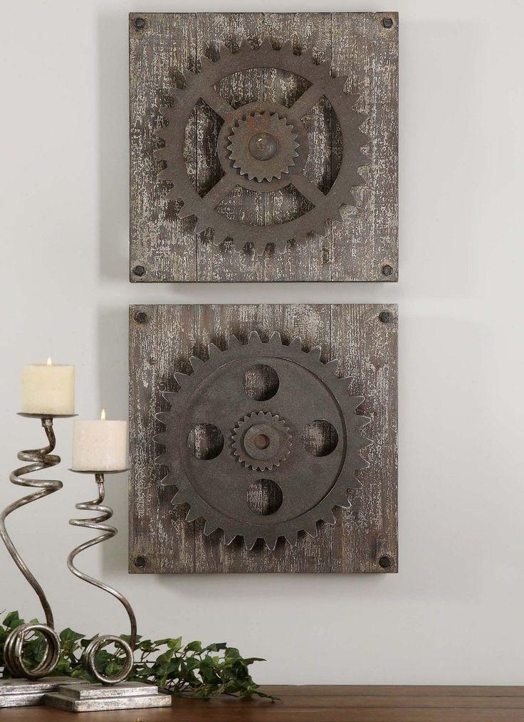 Urban Industrial Loft Steampunk Decor Rusty Gears Cogs 3D Wall Art Sculpture | eBay