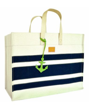 Navy & Ivory Canvas Anchor Charm Tote by Color Dunes #zulily #zulilyfinds