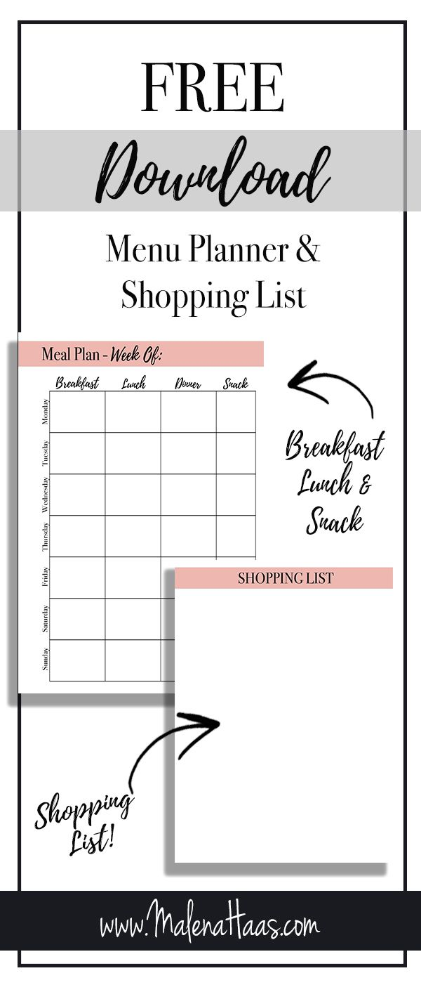 freebie friday meal planning with grocery shopping list