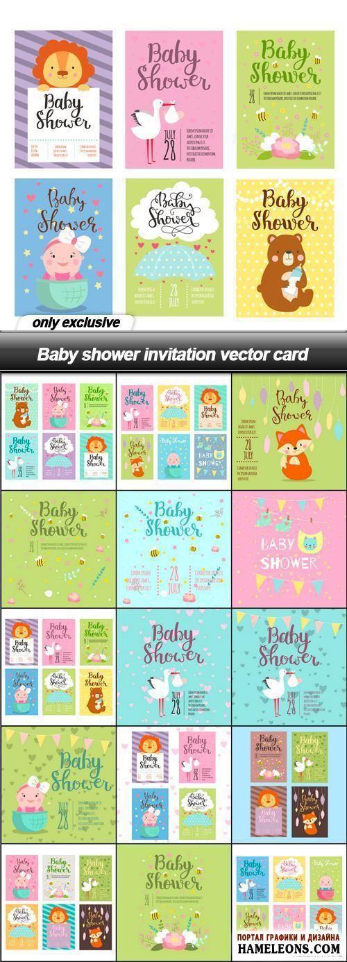 Бэби Шауэр -яркие пригласительные открытки с милыми детьми, аистом, животными - подборка в векторе   Baby shower invitation vector card