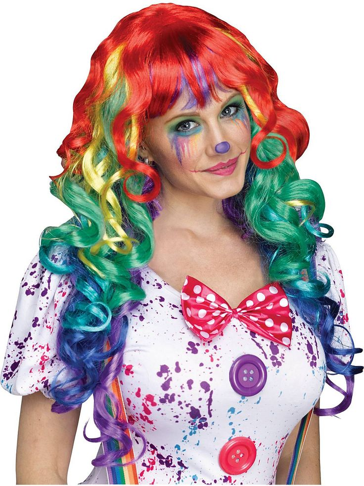 Rainbow Clown Wig with Bangs   Wholesale Clown Wigs for Kids And Adults