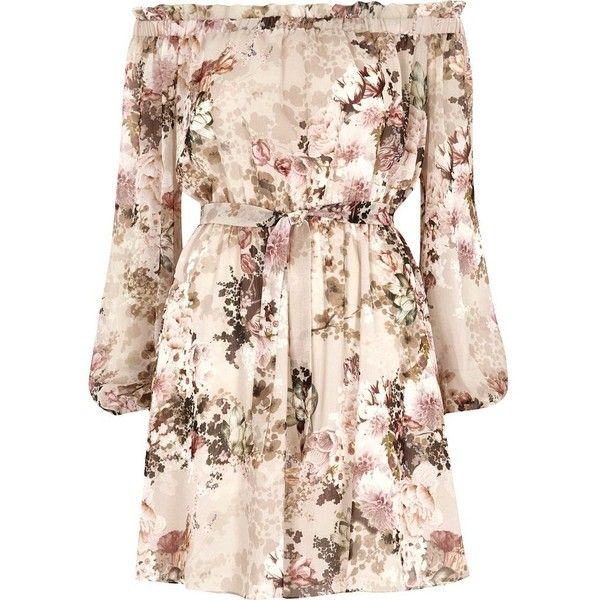 River Island Cream floral print bardot tie front dress ($76) ❤ liked on Polyvore featuring dresses, bardot / bandeau dresses, cream, women, pink floral dress, pink long sleeve dress, flutter-sleeve dress, flower print dress and pink ruffle dress