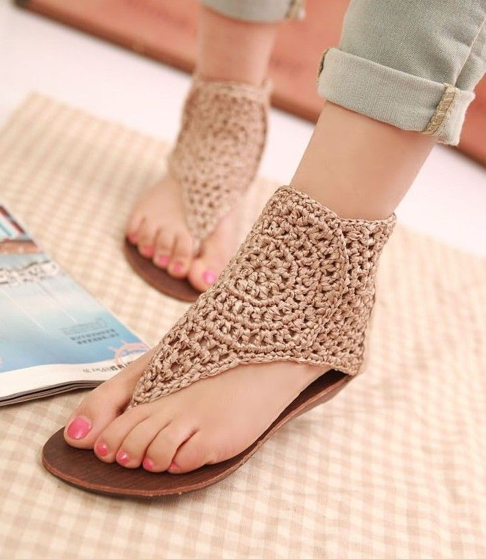 crochet sandals, these be would be easy to replicate onto a flip flop sole!