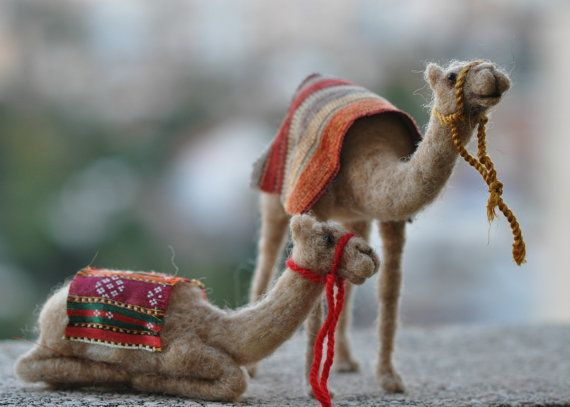 Needle felted Nativity Set-Waldorf sitting Camel by darialvovsky
