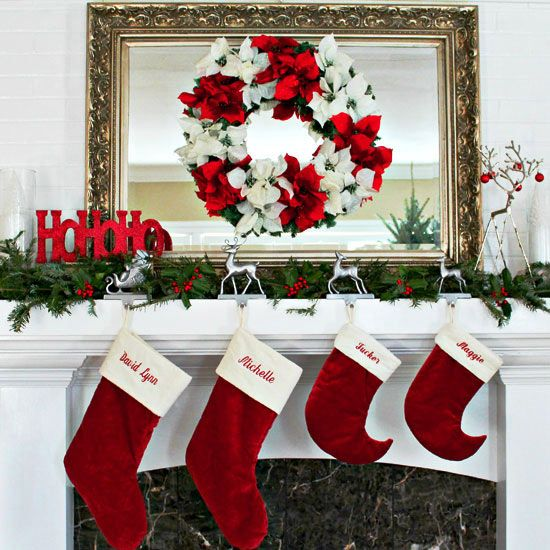 Pretty Christmas Mantel Decorating Ideas.... Christmas Mantel in Traditional Colors