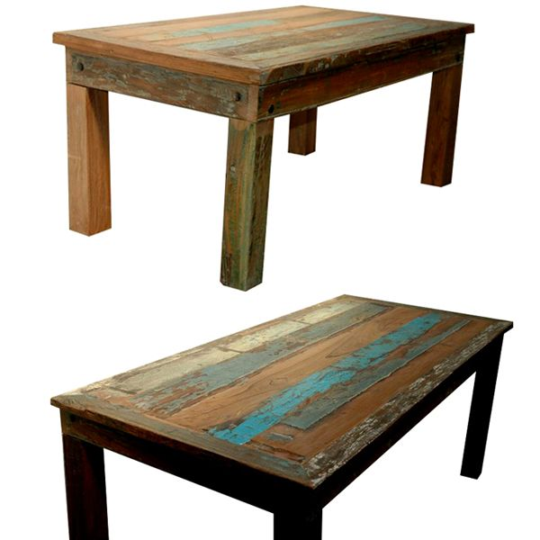 Old Wood Planked Dining Table