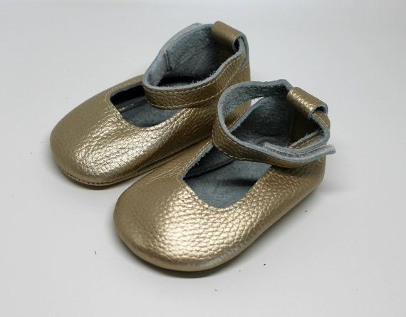 Gold Leather Ballet Shoes // Gold Baby Moccasins // by TrendyEnds