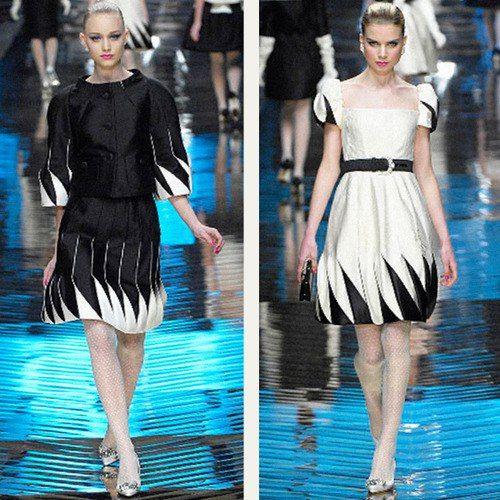 Моделирование складок на юбке-оригами , платье Valentino.