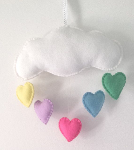 cloud baby mobile  personalised to the name of your by funkyfelts1