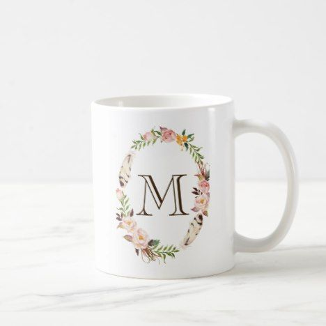 Watercolor Flowers & Feathers Boho Wreath Monogram Coffee Mug #coffee #mug #mugs #muglove #coffeetime #coffeemug #gifts #style #tea