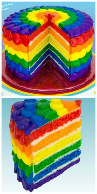 Wow! This is an A M A Z I N G looking rainbow cake - I must have this for my Birthday!