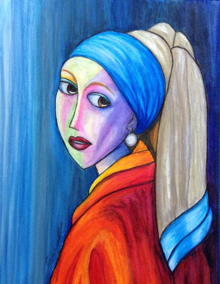 Girl With a Pearl Earring Madeover, oil pastel drawing, cubism Australian art