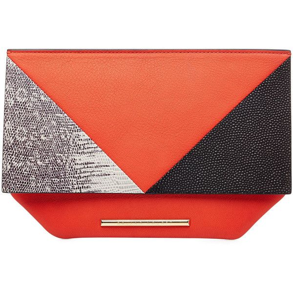 Roland Mouret Leather Kite Clutch (2.954.355 IDR) ❤ liked on Polyvore