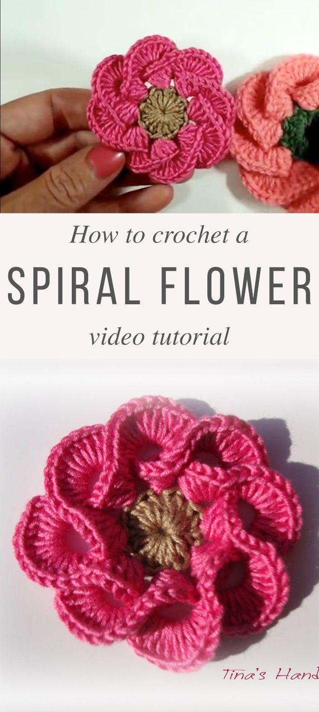 3D Spiral Flower Crochet Pattern Tutorial