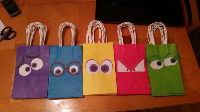 Inside out goodie bags I made for party