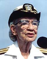 "Grace Murray Hopper (12/9/1906- 1/1/92) was a mathematician and a pioneer in the use of computers in the military, particularly in the USN where she became the first woman to hold the rank of Rear Admiral. ""Amazing Grace"" was one of the inventors of the computer language ""COBOL"" and was the first person to use the word ""bug"" to describe an error in a computer program.  Follow link for the rest of her interesting story."