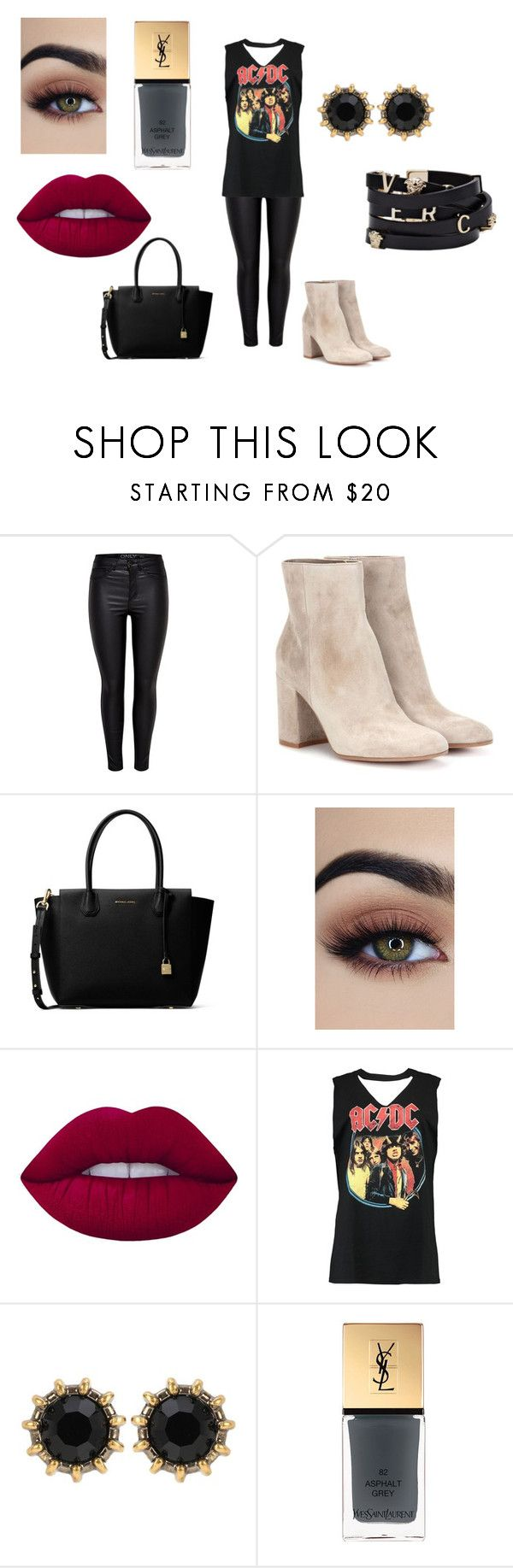 """""""...."""" by kkristinss on Polyvore featuring Gianvito Rossi, MICHAEL Michael Kors, Lime Crime, Boohoo, Versace, Gucci and Yves Saint Laurent"""
