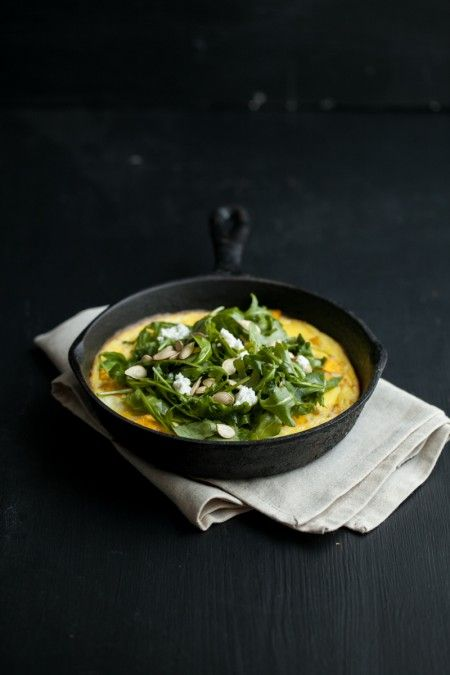 Roasted Pumpkin & Goat Cheese Frittata with Arugula Salad | Naturally ...