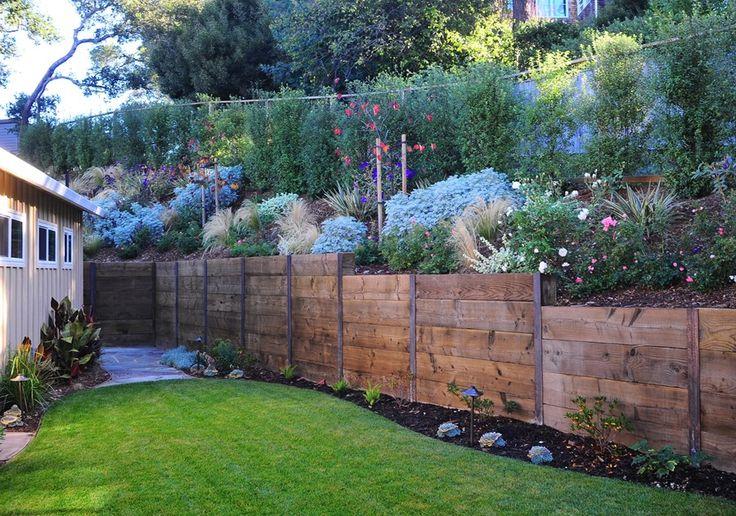 Rustic Fence Retaining Wall Cagwin & Dorward Novato, CA