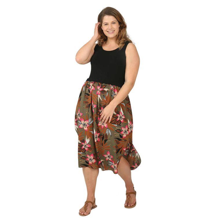 Kleid, Midi, Rundhals, ärmellos, Blumen-Print, Große Größen