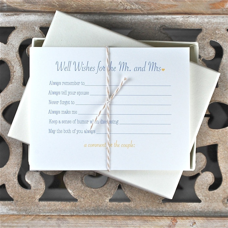 Bridal Shower Activity Well Wishes Cards