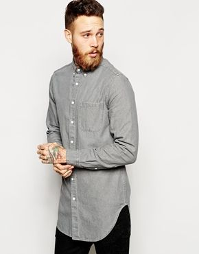 ASOS Shirt In Longline With Mid Wash
