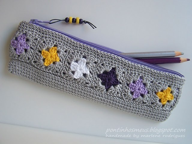 Crochet pencil case - no pattern, these were improvised. Good use of scrap yarn.