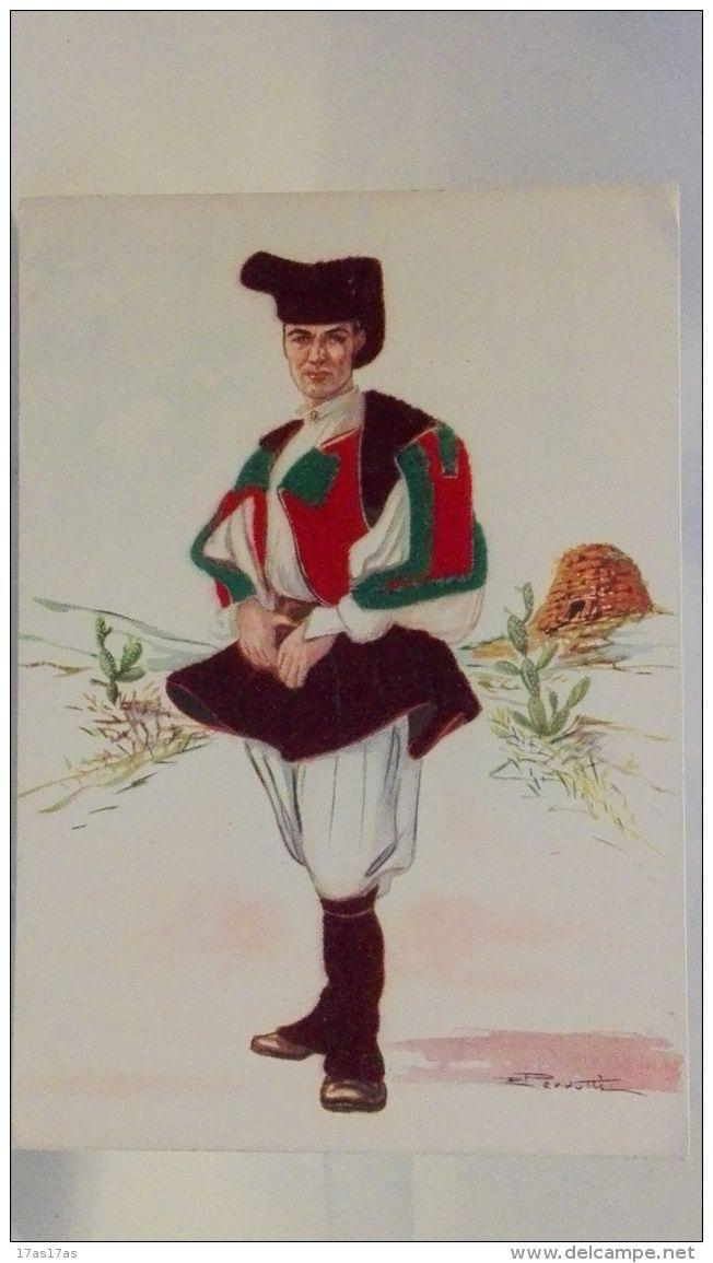 Italia - B FILATELICO, POSTCARDS, CARTOLINE, CARTOLINA, REGIONALE, SARDEGNA, costumi tradizionali, inserti in tessuto