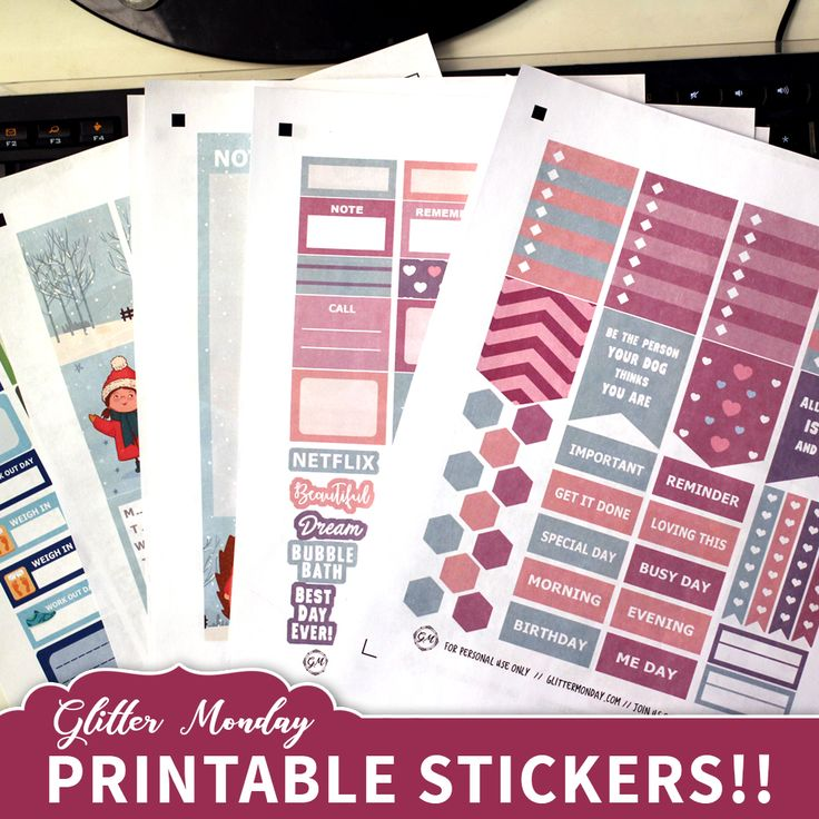 Regular paper for planner stickers, Grab your glue sticks!  Glitter Monday selling printable digital planner stickers. Print at home PDF or Cricut, glittermonday.com, Silhouette Cutting machine planner stickers ready to print! Planner stickers, digital stickers, planner kits, Erin Condren planner sticker kits, Happy Planner digital, printable planner stickers, happy planner stickers kit,  printable planner stickers cricut, happy planner silhouette, planner stickers for sale planner sticker…
